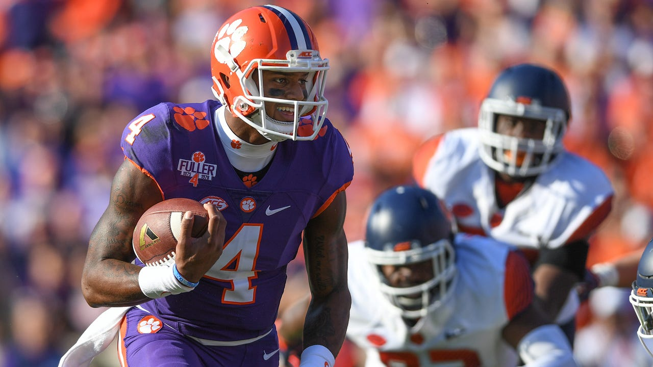 Clemson quarterback Deshaun Watson (4) smiles as he