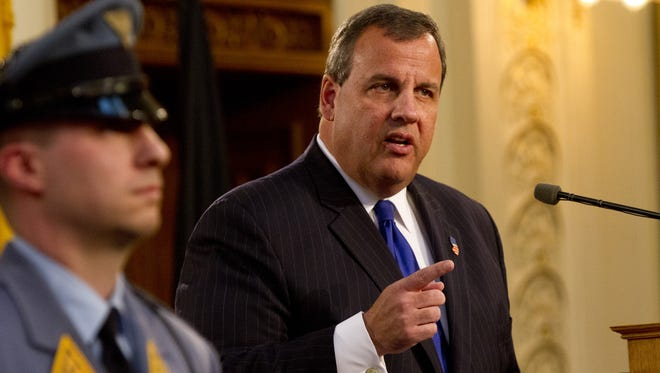 Peter Ackerman/Staff Photographer Gov. Chris Christie delivers his State of the State Address in Trenton on Tuesday. Governor Chris Christie's State of the State Address in Trenton NJ on January 13, 2015.  Peter Ackerman/Staff Photographer