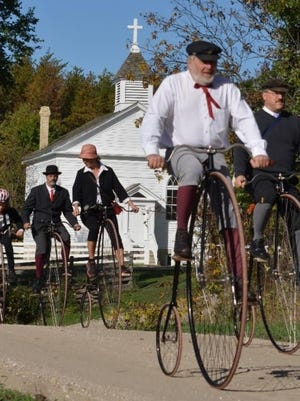 High-wheel cyclists at Old World Wisconsin in Eagle.