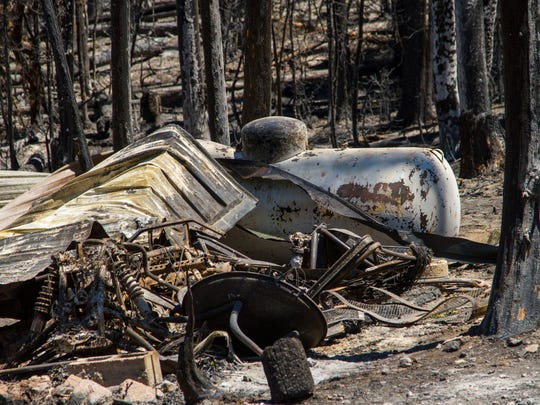 This June 30, 2017, photo shows the property where a cabin on Falcon Court road in Brian Head, Utah, was destroyed by the Brian Head fire.