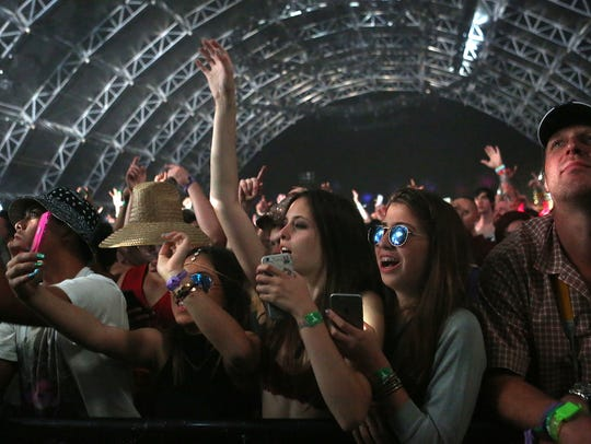 Fans enjoy Alesso' s performance during the Coachella