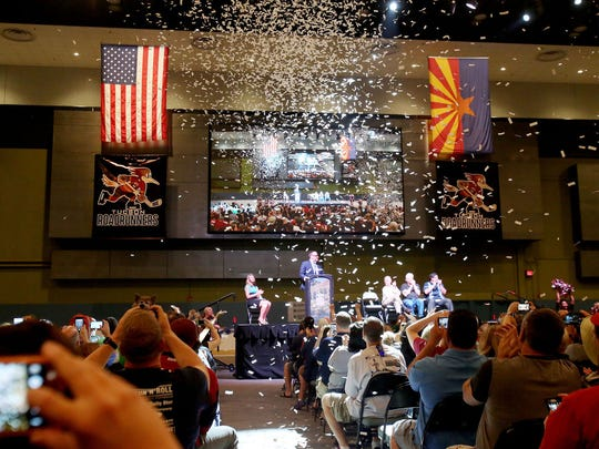 Confetti falls as Arizona Coyotes co-owner Anthony