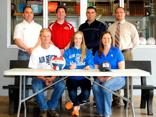 Seated, from left, is Paul Seitz (father), Natalie Seitz, Michelle Seitz (mother). Standing, from left, is Mr. Brett Hoffman (coach), Mr. David App (ATC/Asst AD), Mr. Rich Leathery (Athletic Director), Mr. William Rickard (HS Principal). (SUBMITTED)