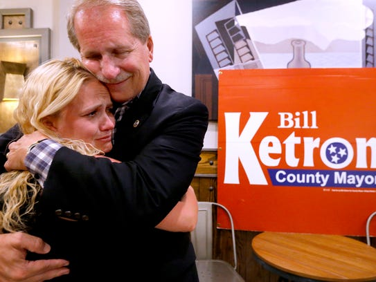 A tearful Kelsey Ketron gets a hug from father and state Sen. Bill Ketron following Tuesday's Republican primary race for Rutherford County mayor. Bill Ketron will face Heather Ann Brown in the Aug. 2 election to replace current County Mayor Ernest Burgess.