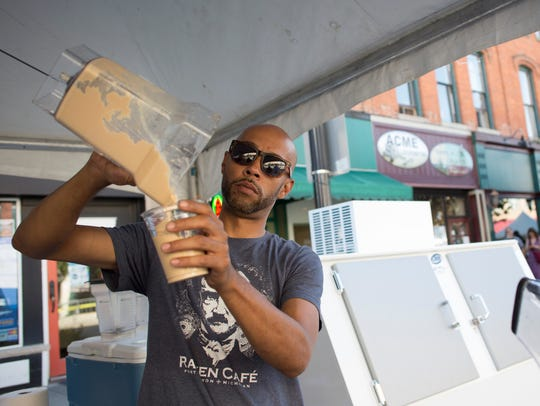 Chris Ford, from The Raven Cafe, makes a frozen vanilla