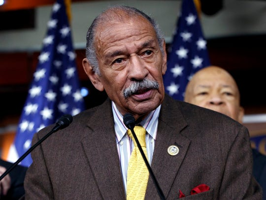 In this file photo from Feb. 14, 2017, Rep. John Conyers,