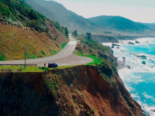 SUV off cliff California