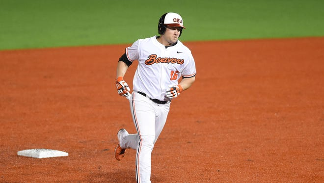 Oregon State's Gabe Clark rounds the bases after hitting a home run as the Beavers take on Grambling during a game at Goss Stadium in Corvallis.
