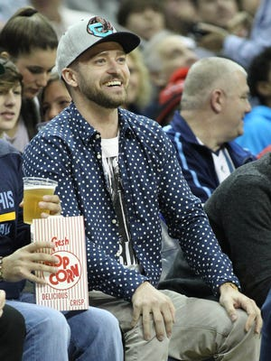 Memphis Grizzlies minority owner and entertainer Justin Timberlake watches his Memphis Grizzlies play the Miami Heat at FedExForum.