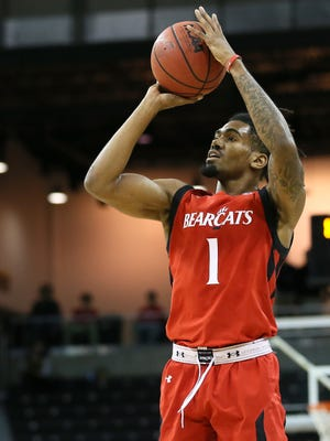 Cincinnati Bearcats junior Jacob Evans takes a shot during last Saturday's Red-Black scrimmage at NKU. UC opens exhibition play against Bellarmine on Wednesday night in Louisville, Ky.