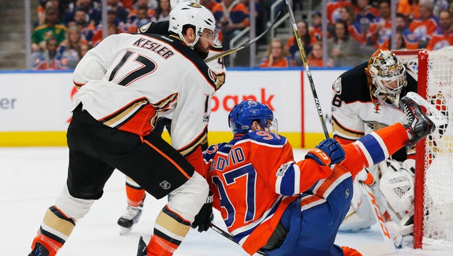 Get used to this: Ducks center Ryan Kesler and Oilers center Connor McDavid will see a lot of each other in the second round of the NHL playoffs.