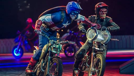 """This undated image released by Marvel Entertainment shows performers dressed as Marvel characters in the new live arena show called """"Marvel Universe Live!"""" The show has begun an 85-city over the next two years, flooding stages with a dizzying array of actors and promising to up the ante when it comes to theatrical events."""