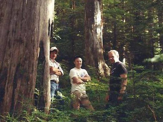 """""""The Bears"""" built the first trail up Opal Creek in 1988. Pictured here are George Atiyeh, Michael Donnelly and Jerry Rust, who flagged the trail."""