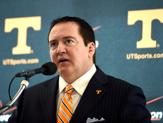 Tennessee NCAA college basketball coach Donnie Tyndall answers questions during the teams media day at the University of Tennessee's Pratt Pavillion in Knoxville, Tenn. on Thursday, Oct. 16, 2014. (AP Photo/Knoxville News Sentinel, Adam Lau)