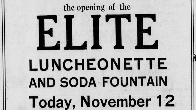 An ad in The Greenville News for the Elite Luncheonette and Soda Fountain.