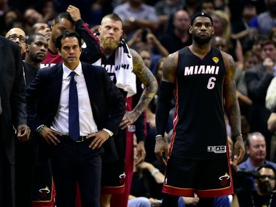 Former Miami Heat forward LeBron James (6) and Miami