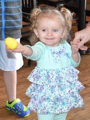 Maggie Hogsett, 19-months-old, of Crimora kept an arm's