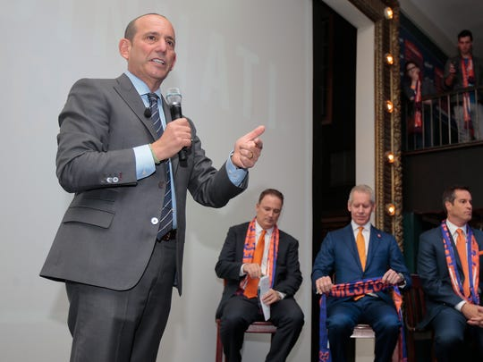 Major League Soccer commissioner Don Garber takes questions from supporters of Futbol Club Cincinnati, Tuesday, Nov. 29, 2016, at the Woodward Theater in Over-the-Rhine.