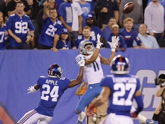 Giants CB Eli Apple can't stop Lions WR Marvin Jones from catching a 27-yard TD in the first quarter Monday, Sept. 18, 2017 in East Rutherford, N.J.
