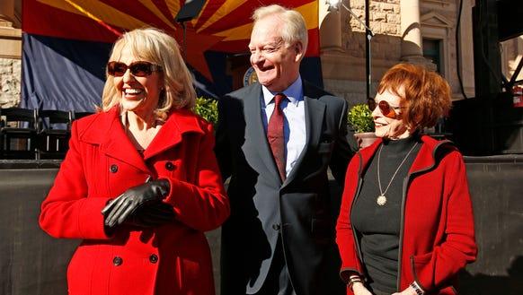Republican former Arizona Govs. Jan Brewer, Fife Symington