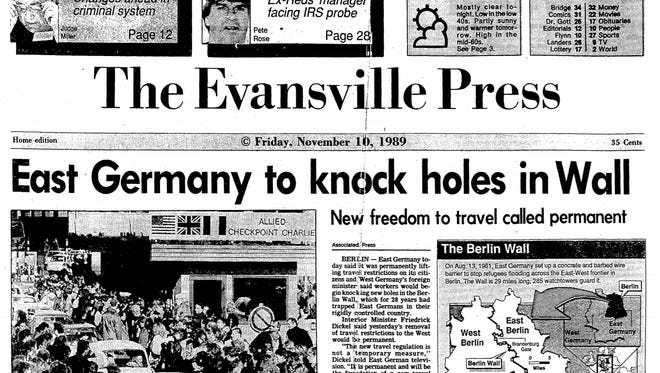 Front page of the Evansville Press Nov. 10, 1989, the day after the Berlin Wall fell.