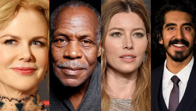 Films starring, from left, Nicole Kidman, Danny Glover, Jessica Biel and Dev Patel will be screened during this year's Heartland Film Festival.