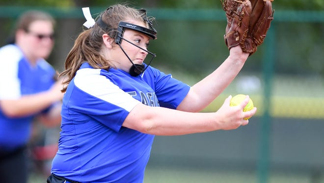Jackson Christian's Jenna Arnold (19) winds up for a pitch during game 10 of the 2017 TSSAA Class A Girls' Softball Tournament, Thursday, May 25 against Goodpasture. Jackson Christian defeated Goodpasture, 19-3.
