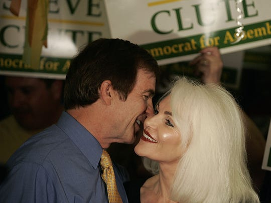 Steve and Pam Clute share a moment during an election party in Indio in 2008.