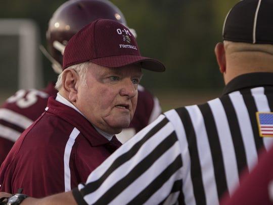Bob Lee coaches Odessa-Montour against Elmira Notre Dame in 2014.