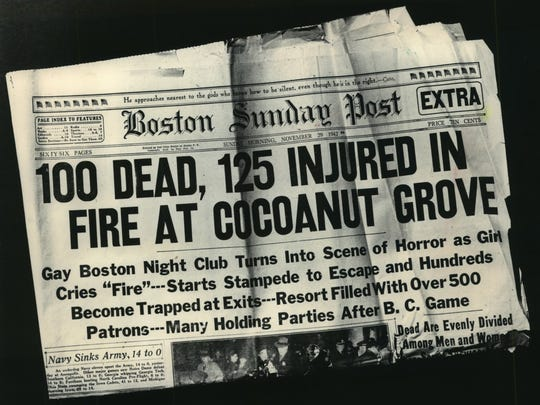 Newspapers had a difficult time keeping up with the death toll in the Cocoanut Grove fire Nov. 28, 1942, in Boston; eventually, the figure rose to 491.
