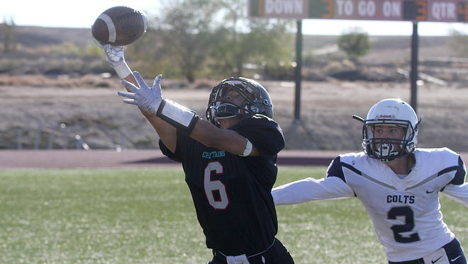 Shiprock's Quaid Shorty catches the ball for a two-point conversion during a game against Silver on Saturday at Chieftain Stadium in Shiprock.