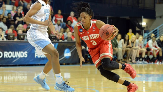 Ohio State Buckeyes guard and former Princeton star Kelsey Mitchell (3) drives to the basket past North Carolina Tar Heels guard N'Dea Bryant (22) during the first half in the second round of the women's NCAA tournament at Carmichael Arena.