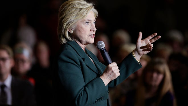 Democratic presidential candidate Hillary Rodham Clinton speaks during a town hall meeting Sunday, Nov. 22, 2015, in Clinton, Iowa.