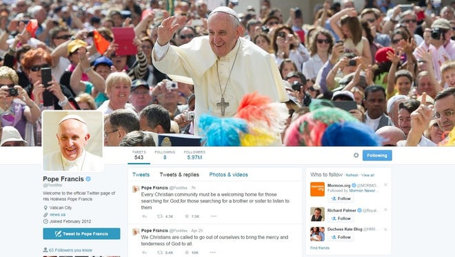 Pope Francis' Twitter page.