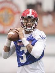 Ragin' Cajun quarterback Jordan Davis, show here during