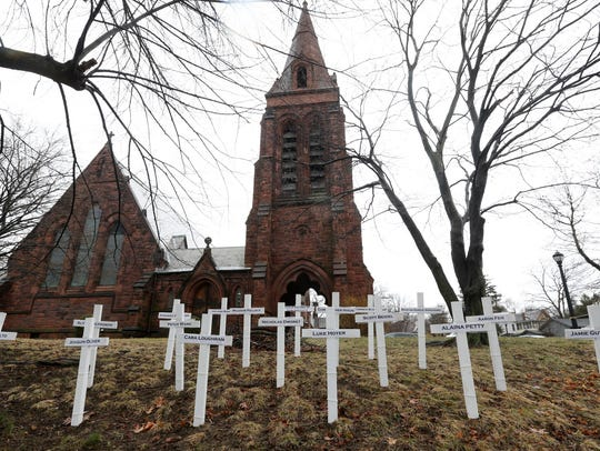 Crosses for the victims of the Parkland Florida school