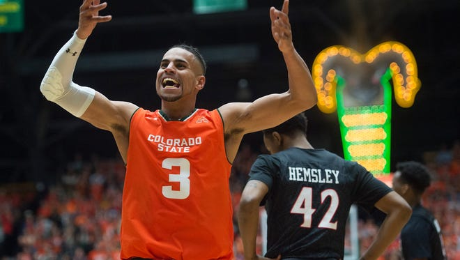 CSU guard Gian Clavell celebrates after a play during a Feb. 25 win over San Diego State at Moby Arena. Clavell, the Mountain West Player of the Year, will play for the Miami Heat in the NBA Summer League.