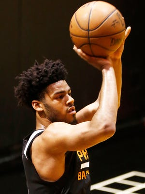 Duke guard Quinn Cook shoots at a Phoenix Suns pre-draft workout on Thursday, May 28, 2015, at US Airways Center in Phoenix.