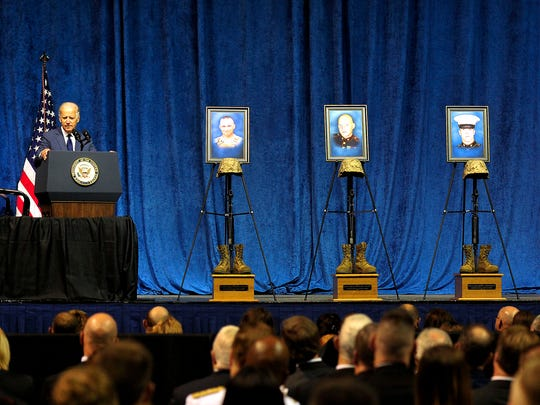 Vice President Joe Biden speaks at the memorial service