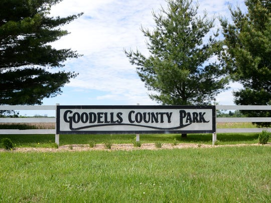 A sign welcomes visitors Monday, June 6, at Goodells County Park.