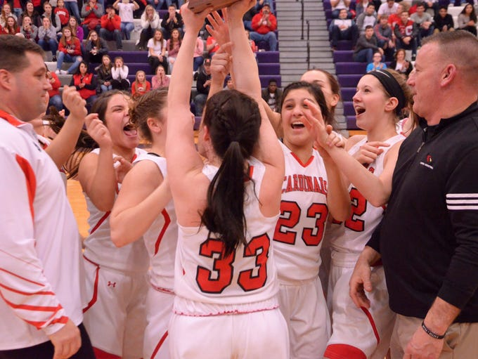 Coldwater's Malorie Rzepka (33) holds the Class A district