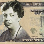 USA TODAY mockup of $20 bill with Eleanor Roosevelt.