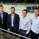 The Pensacola Ice Flyers start their season on Friday with an away game against the Mississippi River Kings, then return home Saturday to play the Columbus Cottonmouths. Players in the photo are, from left, Max Strang, Brett Lutes, Steve Bergin and Jeremy Gates.