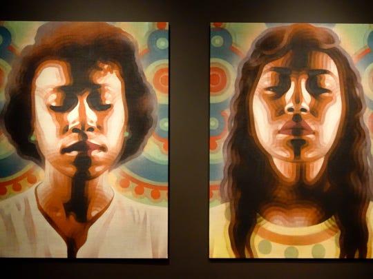 """Omayra"" and ""Sumer"" by El Mac, spray painted on burlap."