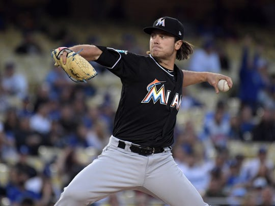 Miami Marlins starting pitcher Dillon Peters