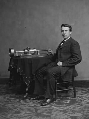 Thomas Edison is shown in a photo taken in 1877.