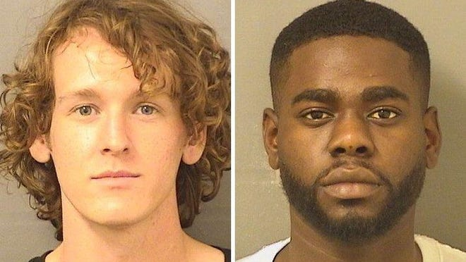 """Alexander Savage (left), 20, of West Palm Beach, also called Alexander Savage-Smith, and Wyans Fleury, 26, of Deerfield Beach in northern Broward County, were separately booked June 1, 2020 at the Palm Beach County Jail on charges of """"inciting riots."""""""