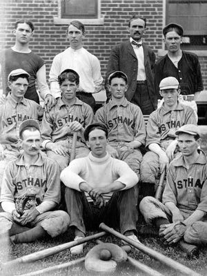 """The Richmond state hospital's East Haven baseball team faced rival team 'the Sluggers'on Aug. 11, 1906. The next day's Palladium reported, """"For more than half the game, the scoring was about evenly divided between the two teams, but [by] the last of the game the Sluggers went to pieces… and the asylum team pounded the cover off the ball."""" East Haven won 26 – nine. The game in today's story was also hotly constested, but took place a decade earlier when the sport was dubbed """"base ball."""" - Image courtesy of the Wayne County Historical Museum."""
