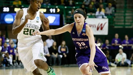 Baylor's Imani Wright (20) stays with Northwestern State 's Beatrice Attura (30) on a drive to the basket in the first half of a women's college basketball game.