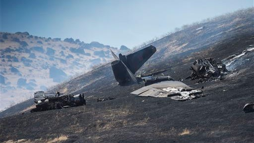The wreckage of a U-2 spy plane that crashed after taking off from Beale Air Force Base on a training mission in Northern California, is seen Tuesday.